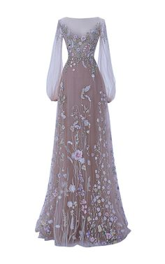Shop The Belle Blossom Fairy Dress. This **Hamda al Fahim** gown features full pastel colored embroidery, illusion neckline and bell sleeves, with an illusion-partially exposed back. Beautiful Gowns, Beautiful Outfits, Elegant Dresses, Vintage Dresses, Vintage Clothing, Vintage Fashion, Pretty Outfits, Pretty Dresses, Ball Dresses