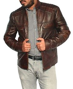 ►This Cafe racer brown waxed leather jacket is made of High-Quality Genuine leather Two Upper Chest Zipper Pockets, Two side waist Zipper Pockets Front Zipper Closure, Finest Stitching Distressed Leather Jacket, Brown Leather, Closet Essentials, Dc Weddings, Emoji, Biker, Collections, Jackets, Shopping
