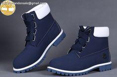 Custom Discount Timberland Navy Blue-White 6 Inch Men Sale $95.99