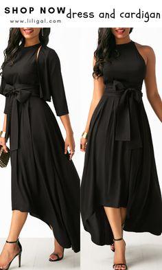 Asymmetric Hem Black Belted Dress and Cardigan Black Evening Dresses, Elegant Dresses, Sexy Dresses, Casual Dresses, Fashion Dresses, Dresses With Sleeves, Dress With Cardigan, Belted Dress, Club Party Dresses