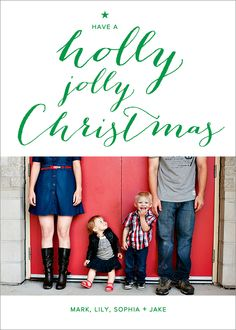 """christmas card photo card - """"Holly Jolly Wishes""""."""