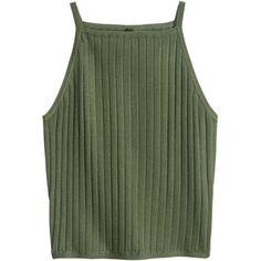 Ribbed Tank Top $12.99 ($13) ❤ liked on Polyvore featuring tops, rib tank, short tops, green tank, green top and short tank tops