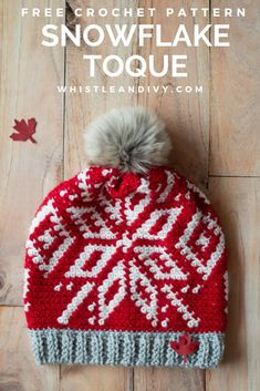Snowfall Slouchy Toque - Free Crochet Pattern The color work of this pretty snowflake hat is much easier than you think. You will love how the pretty snowflake takes shape as you crochet your hat. Finish your crochet hat with a faux fur pom-pom! Crochet Crafts, Crochet Projects, Free Crochet, Knit Crochet, Crochet Baby, Crochet Beanie, Knitted Hats, Knitting Patterns, Crochet Patterns