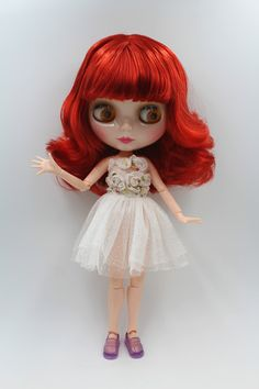 Blygirl doll wine red short hair Blythe joint body Doll Fashion can change makeup