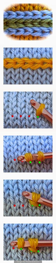 "Knitting/Crochet Stitches - ""This decoration for knitted projects is crocheted slip stitches made into a knitted foundation. Easy to do and is very effective way to add design interest to your knitting. Knitting Help, Loom Knitting, Knitting Stitches, Knit Or Crochet, Crochet Crafts, Yarn Crafts, Crochet Braid, Knitted Fabric, Yarn Projects"
