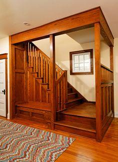 Gorgeous, inglenook-like staircase.