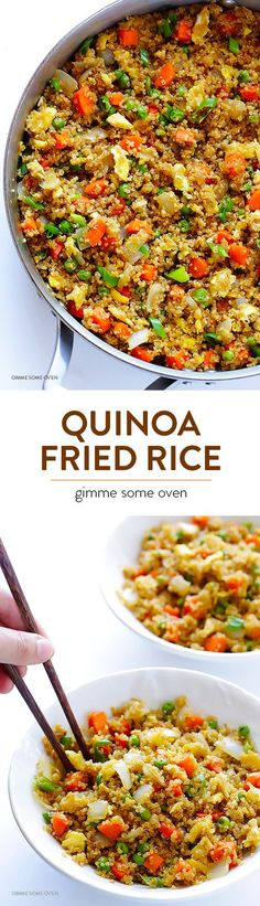 """Fried """"Rice"""" Quinoa Fried """"Rice"""" - Swap in protein-packed quinoa for rice with this delicious recipe!Quinoa Fried """"Rice"""" - Swap in protein-packed quinoa for rice with this delicious recipe! Healthy Cooking, Healthy Eating, Cooking Recipes, Meal Recipes, Cooking Tips, Healthy Fit, Slow Cooking, Shrimp Recipes, Rice Recipes"""