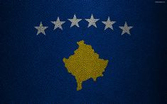 Download wallpapers Flag of Kosovo, 4k, leather texture, Europe, flags of Europe, Kosovo