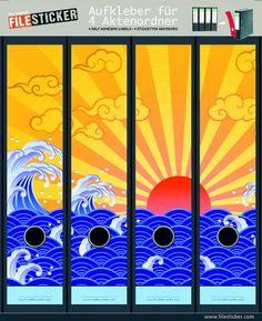 File Sticker - Design Etiketten - Motiv Great Eastern Sun - für 4 breite Ordner