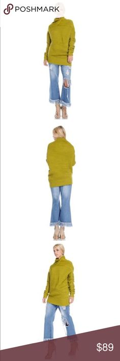 NWT Apple Green Cowl Neck Rib Knit Pullover This 100% acrylic sweater is as soft as your favorite sweatshirt, and as stylish as the latest runway designs. This piece is full of high-end couture details, from the twisted rib knit neck detail to the easy tapering at the hips. Apple green. Full-length sleeves. Sizes Small (4/6), Medium (8/10), Large (12/14). As gorgeous with a cutting edge pair of jeans as with an understated pencil skirt. Sweaters Cowl & Turtlenecks