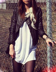Moto jackets, shirt dresses & tights.