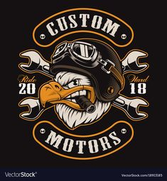 American eagle with cigar. Vector illustration of motorcycle rider with helmet. All elements, colors, text (curved) are on the separate layer and easy editable: compre este vector en Shutterstock y encuentre otras imágenes. Harley Davidson, Biker T-shirts, Wonderful Day, Motorcycle Logo, Photo Images, Garage Art, Story Instagram, Badge Logo, Design Graphique