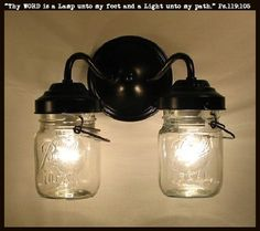 TheLampGoods - Vintage CLEAR Canning Jar DOUBLE Sconce Light, $100.00 (http://thelampgoods.com/vintage-clear-canning-jar-double-sconce-light/)