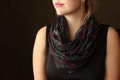 Black Circle Scarf with a Red & Grey Aztec Pattern by slyscarves, $30.00