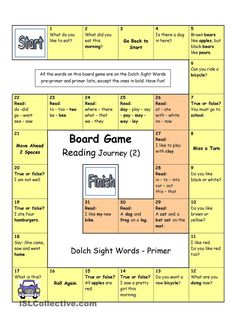 Board Game - Reading Journey (2) - Dolch Sight Words Primer
