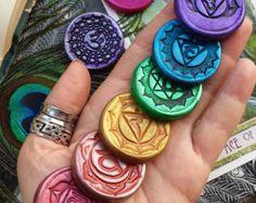XL Meditation Medallions - Essential Oil Scented Sanskrit Chakra Symbol & Flowering Lotus Sets for Your Sacred Space, Meditation Practice
