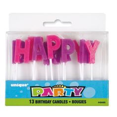 Purple and Pink Happy Birthday Candles | Purple and Pink Party Decorations