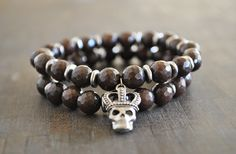 BROWN JADE beaded skull bracelet by JBeseda on Etsy