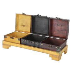 "16.3 x 5.5"" x 3"" Wooden Three Colored Treasure Chests on Tray, Browns/Tans"