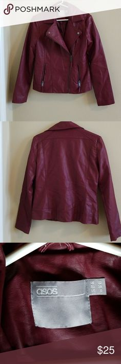 ASOS faux leather moto jacket Cranberry colored, vegan friendly jacket in a moto style.  Size 6/Medium. Asos Jackets & Coats