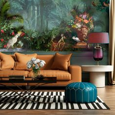 Magnificent Menargerie- Tropical & Royal Design wallpaper/wall mural – Miss Lolo Home Design, Wall Design, Wallpaper Wall, Interior Wallpaper, Casa Milano, Beautiful Wall, Wall Murals, Interior Architecture, Living Room Decor