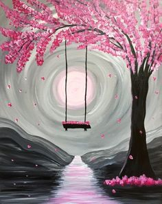 Handpainting Abstract Paint Nite Whimsical Spring Blossom Canvas Picture Handmade Wall Art Swing in Pink Tree Knife Oil Painting. Subcategory: Home Decor. Product ID: Easy Canvas Painting, Simple Acrylic Paintings, Painting & Drawing, Acrylic Art, Diy Painting, Spring Painting, Art Painting Tools, Painting Classes, Canvas Paintings For Kids