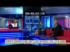 Survey suggesting we cannot live without Tea & TV. Garth appearing on SKY News.