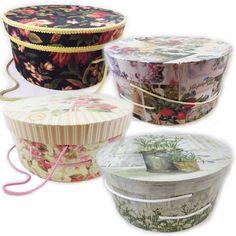 BIG LARGE ROUND Hat BOX Decorative BOXES LID Storage Floral Shabby Cottage Chic #Cottage