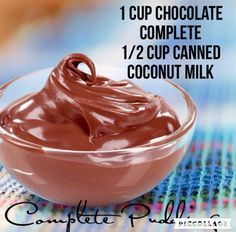Healthy chocolate pudding recipe with Juice Plus Complete and canned coconut mil. - Juice Plus - Broccoli Nutrition, Cheese Nutrition, Nutrition Bars, Kids Nutrition, Nutrition Activities, Juice Plus Shakes, Coconut Milk Nutrition, Canned Coconut Milk, Juice Recipes