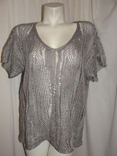 EILEEN FISHER Crochet Open Weave Cotton Linen Tunic Sweater Top Gray Size Large #EileenFisher #KnitTop #CasualResort