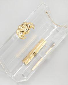 Charlotte Olympia Croissant Pandora Clutch, Transparent - Neiman Marcus