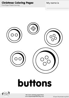 Free Christmas coloring pages for kids from Super Simple Learning. More printables at www.supersimplelearning.com/resource-room. #buttons #kindergarten #preK #ESL