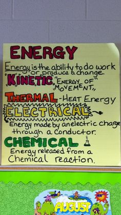 Types of Energy Anchor Chart - what kind o energy are you today?