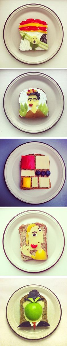 Going to the museum this summer? Recreate famous works of art as food! You can use healthy options to decorate slices of bread.