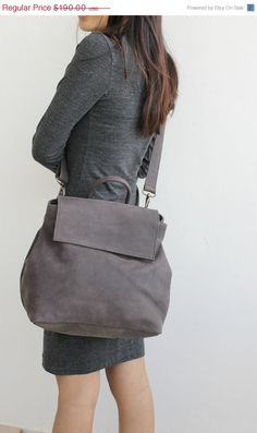 SPRING SALE Grey crossbody leather bag  Messnger bag by BarLeather