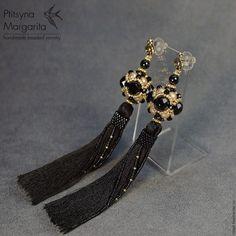 Black tassel earrings, long tassel earrings, black and gold pearl earrings with tassels, tassel jewelry Seed Bead Jewelry, Seed Bead Earrings, Beaded Earrings, Beaded Jewelry, Handmade Jewelry, Long Tassel Earrings, Wire Wrapped Earrings, Black Gold Jewelry, Pearl Pendant