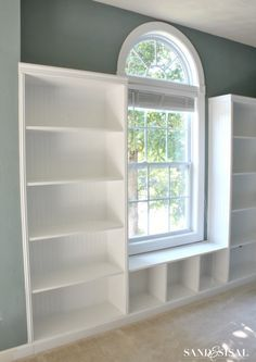 How to Build Built-in Bookshelves with bead board and rope trim + window seat. Building plans and full tutorial included!