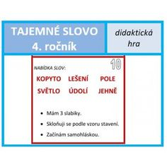 Tajemné slovo - 4. ročník Teaching, Education, Dyslexia, Learning, Studying