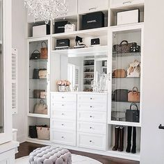 master closet with crystal chandelier Happy Friday, everyone! I'm so excited to FINALLY share my completed master closet renovation with California Closets today! Walk In Closet Design, Closet Designs, Master Closet Design, Closet Vanity, Closet Mirror, Chandelier In Closet, Closet Lighting, Dressing Room Design, Dressing Rooms