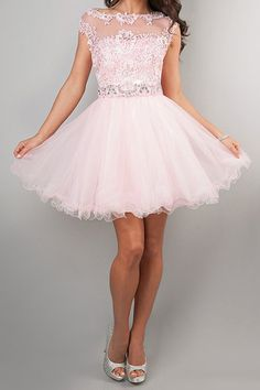 Light Pearl Pink Short Tulle Homecoming Dress