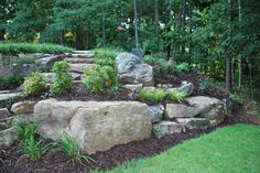 Retaining hill with boulders