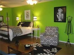 green bedroom and black  and white