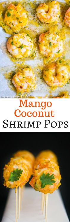 Mango Coconut Shrimp Pops - a delicious tropical themed shrimp cocktail Seafood Appetizers Seafood Appetizers Appetizers Appetizers for a crowd Appetizers parties Popular Appetizers, Appetizers For A Crowd, Seafood Appetizers, Appetizer Recipes, Party Appetizers, Fish Recipes, Seafood Recipes, Cooking Recipes, Healthy Recipes