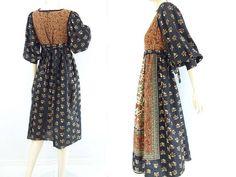 Vintage Boho Dress 70s Peasant Dress Boho Floral Dress 1970s Gypsy Dress Boho Midi Dress 70s Festival Dress Black Floral Hippie Dress m