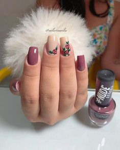 25 Modelos de Unhas decoradas com Esmalte - Gorgeous Nails, Love Nails, Pretty Nails, Cute Acrylic Nails, Gel Nails, Finger Nail Art, Healthy Nails, Types Of Nails, Stylish Nails