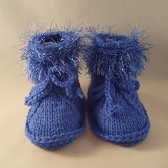 Blue baby knitted spring booties$8.99 Our knitted baby booties keep your baby's little feet warm and comfy. They're knitted from soft wool that doesn't irritate your baby's skin.