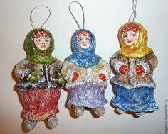 Купить Барышни - елочные игрушки, елочные украшения, игрушки ручной работы, елочные игрушки из ваты