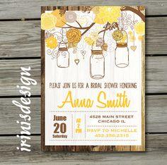 Mason Jar Bridal Invitation Hanging Invite Country by irinisdesign, $16.99