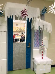 My winter wonderland classroom door ran over to the speech room....our doors are close together so I kept the idea going