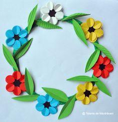 Imagini pentru clasa pregatitoare florile zambitoare Paper Flower Garlands, Paper Flowers, Creative Crafts, Diy Crafts, Photo Frame Crafts, Art For Kids, Crafts For Kids, Paper Punch Art, Flower Mobile